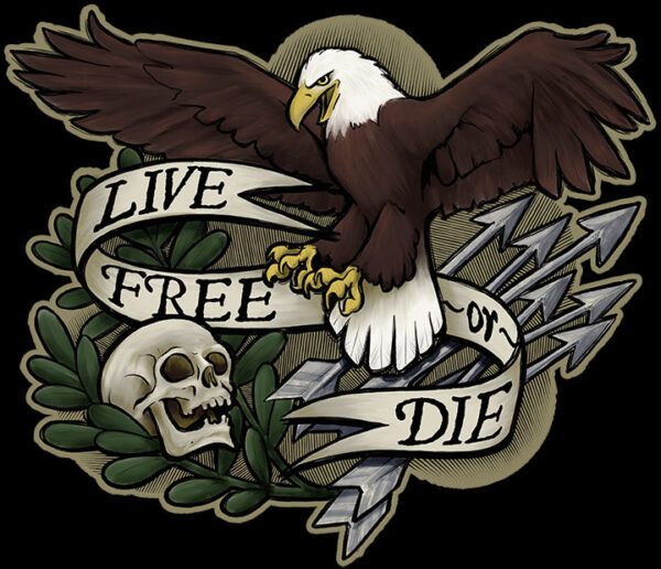 Live Free or Die - Patriotic Eagle Skull Shirt