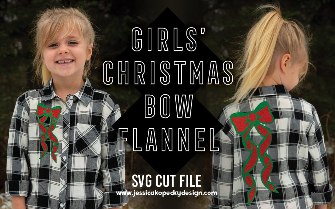 Girls' Christmas Bow Flannel Shirt SVG Cut File pattern and Cricut Design Space tutorial