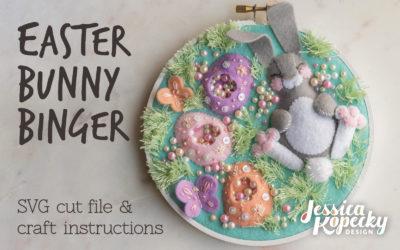 Easter Bunny Binger Embroidery Hoop Craft