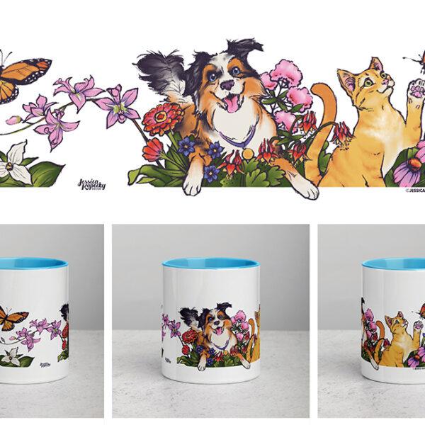 Happy Fun Kitty Cat and Puppy Dog Mug Design